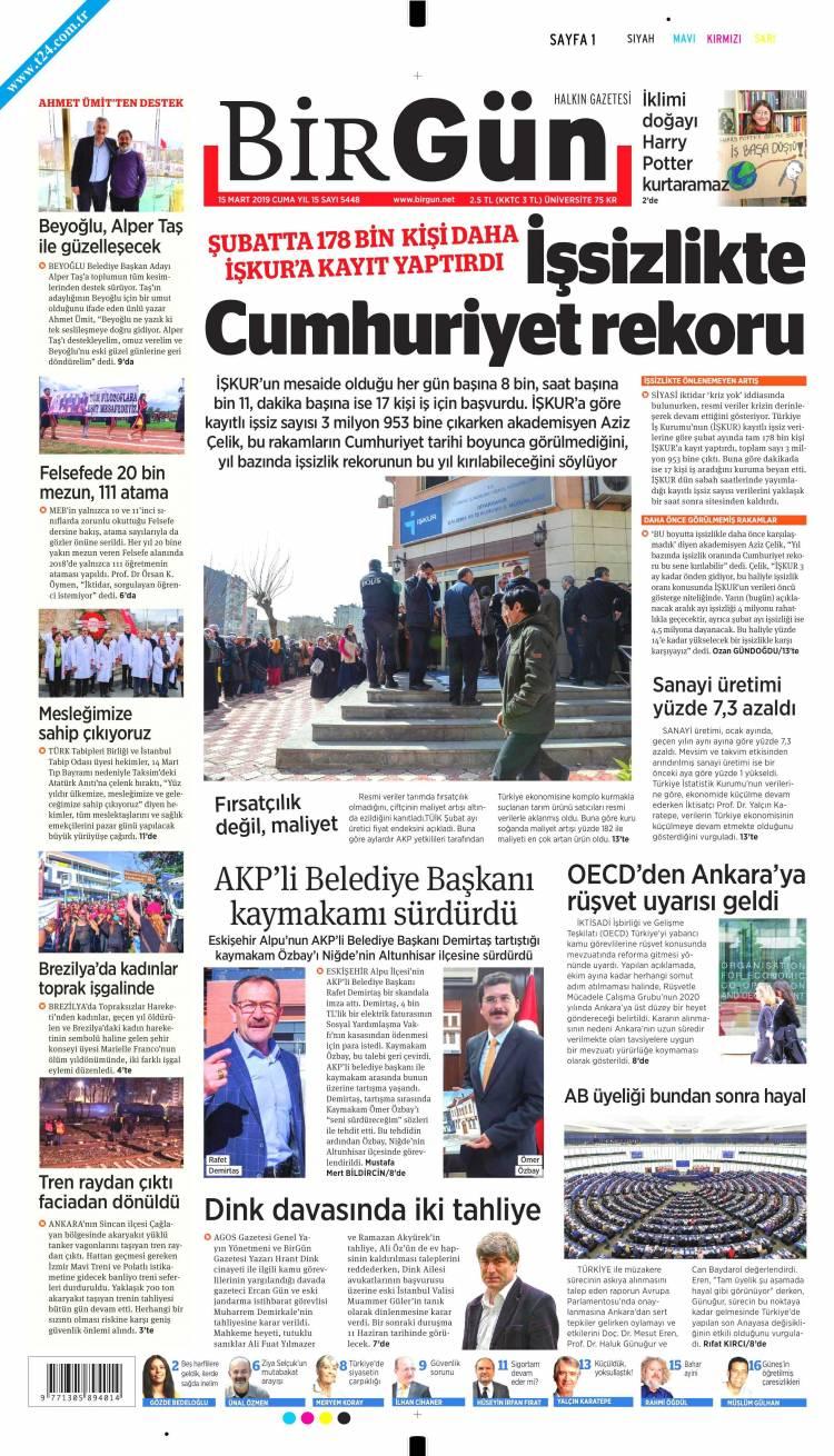 Günün Ulusal Gazete Manşetleri - 15 03 2019 3