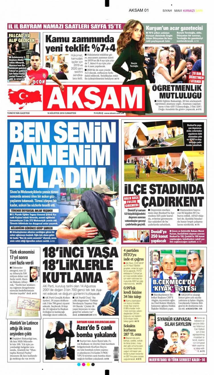 Günün Ulusal Gazete Manşetleri - 10 08 2019 1