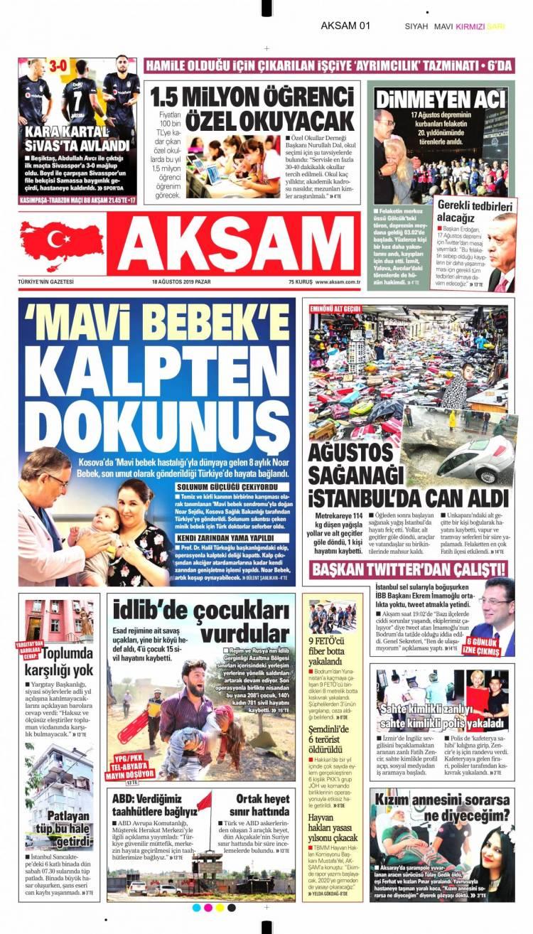 Günün Ulusal Gazete Manşetleri - 18 08 2019 1