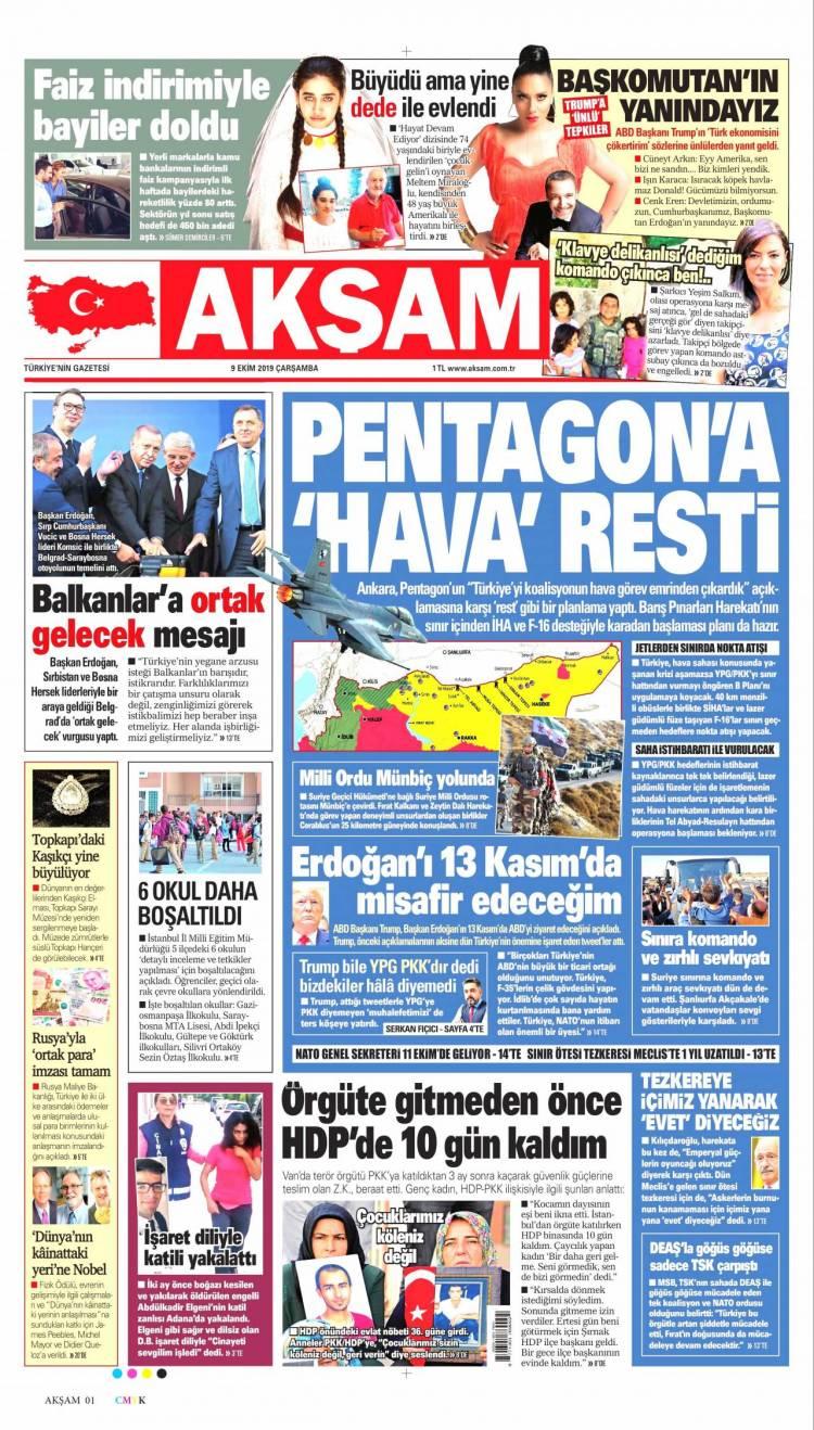 Günün Ulusal Gazete Manşetleri - 09 10 2019 1