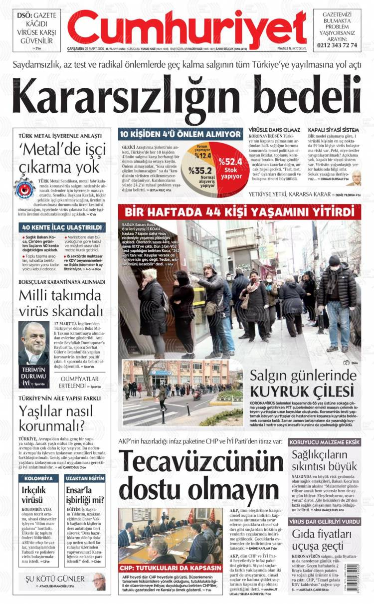 Günün Ulusal Gazete Manşetleri - 25 03 2020 4