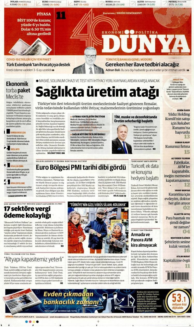 Günün Ulusal Gazete Manşetleri - 25 03 2020 5