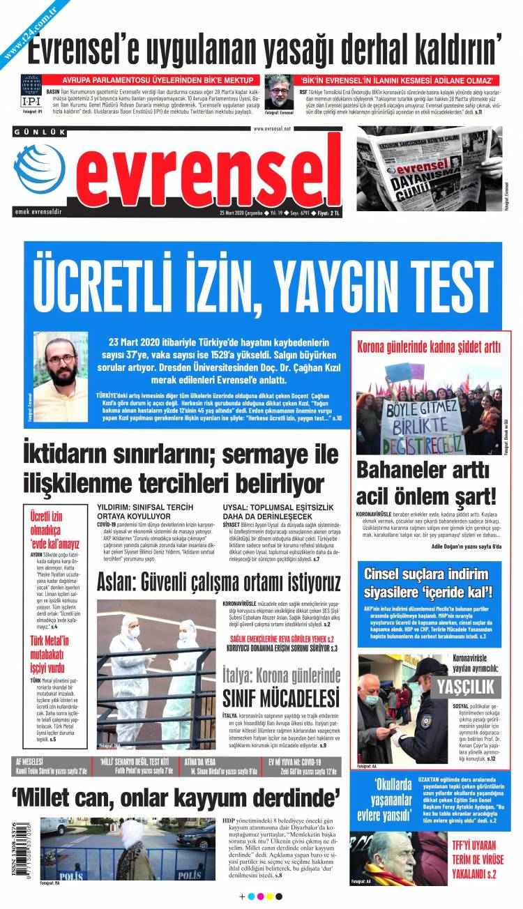 Günün Ulusal Gazete Manşetleri - 25 03 2020 6