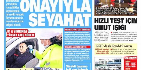 Günün Ulusal Gazete Manşetleri - 29 03 2020