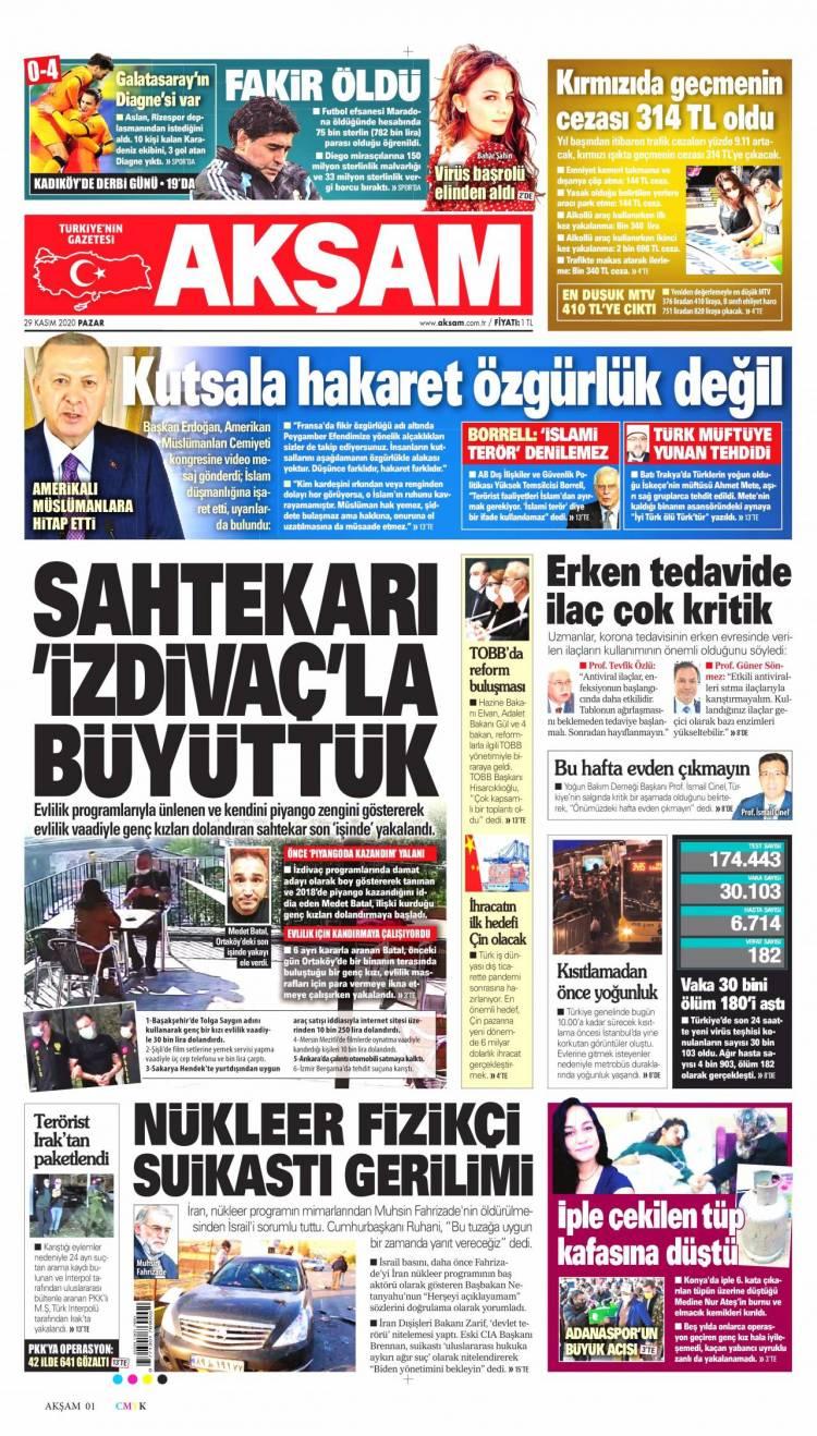 Günün Ulusal Gazete Manşetleri - 29 11 2020 1