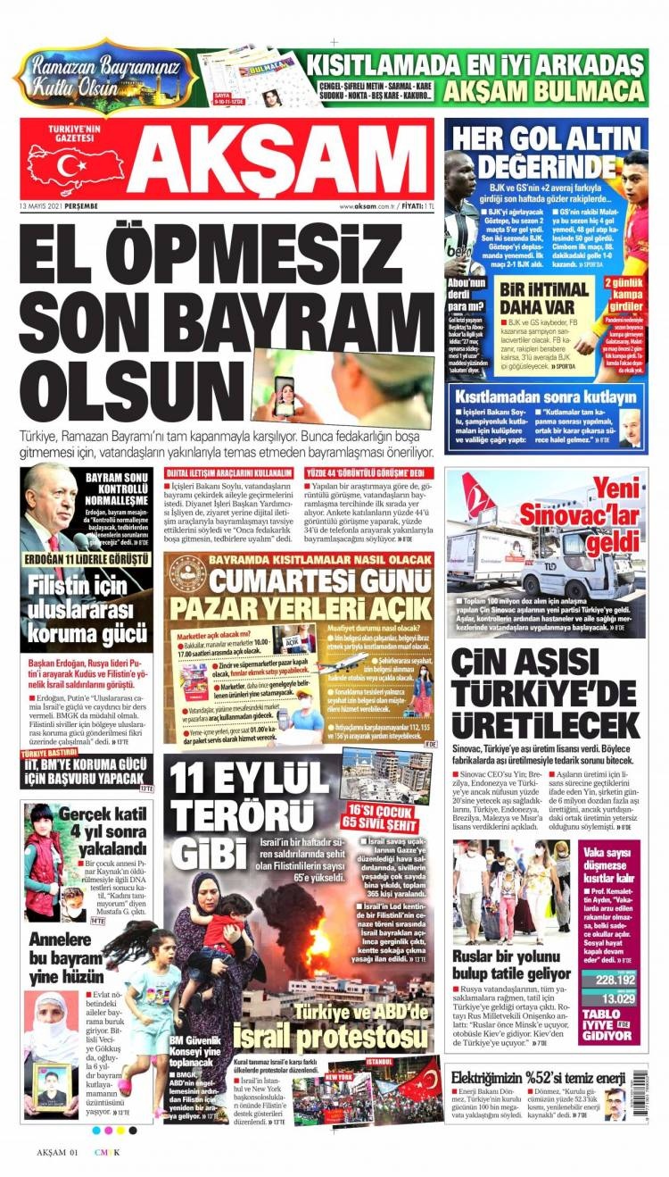 Günün Ulusal Gazete Manşetleri - 13 05 2021 1