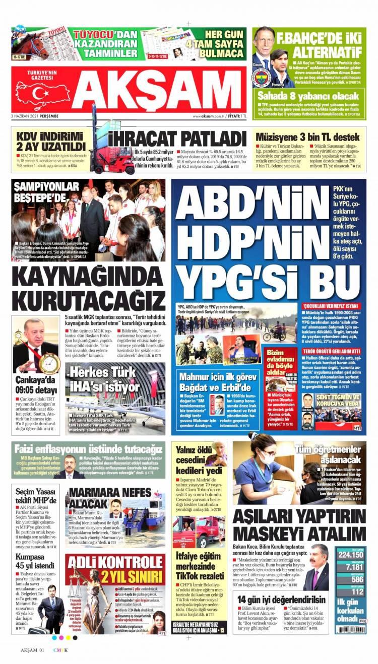 Günün Ulusal Gazete Manşetleri - 03 06 2021 1