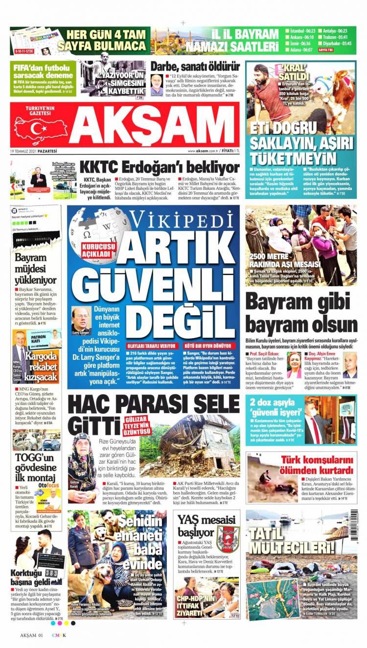 Günün Ulusal Gazete Manşetleri - 19 07 2021 1