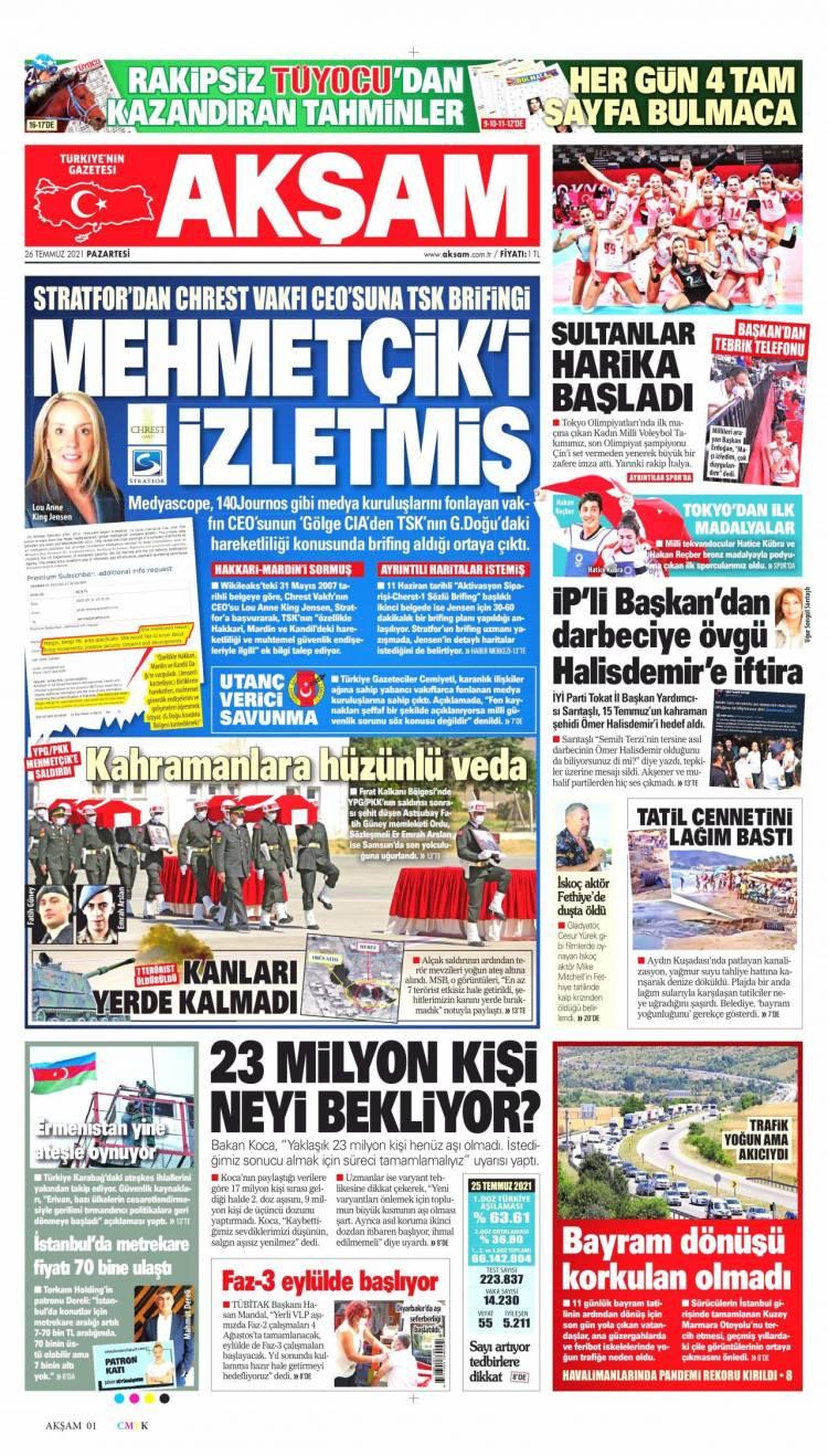 Günün Ulusal Gazete Manşetleri - 26 07 2021 1