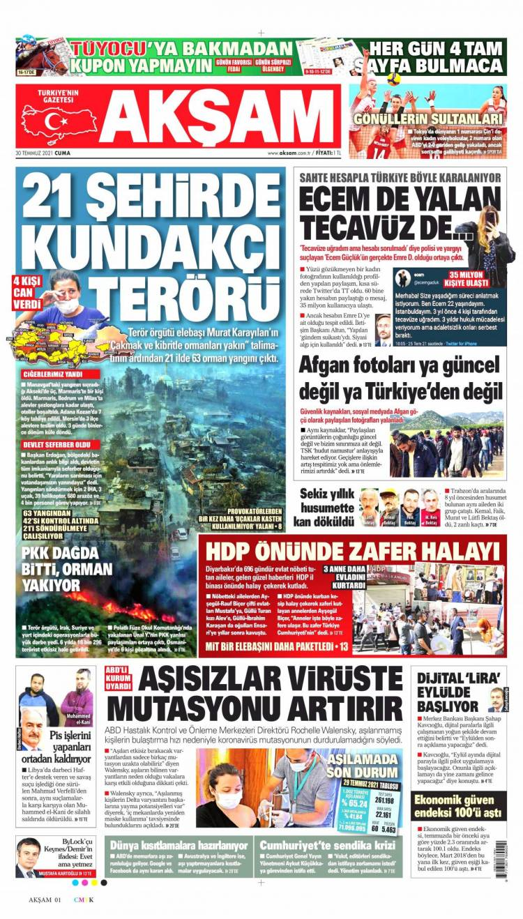 Günün Ulusal Gazete Manşetleri - 30 07 2021 1