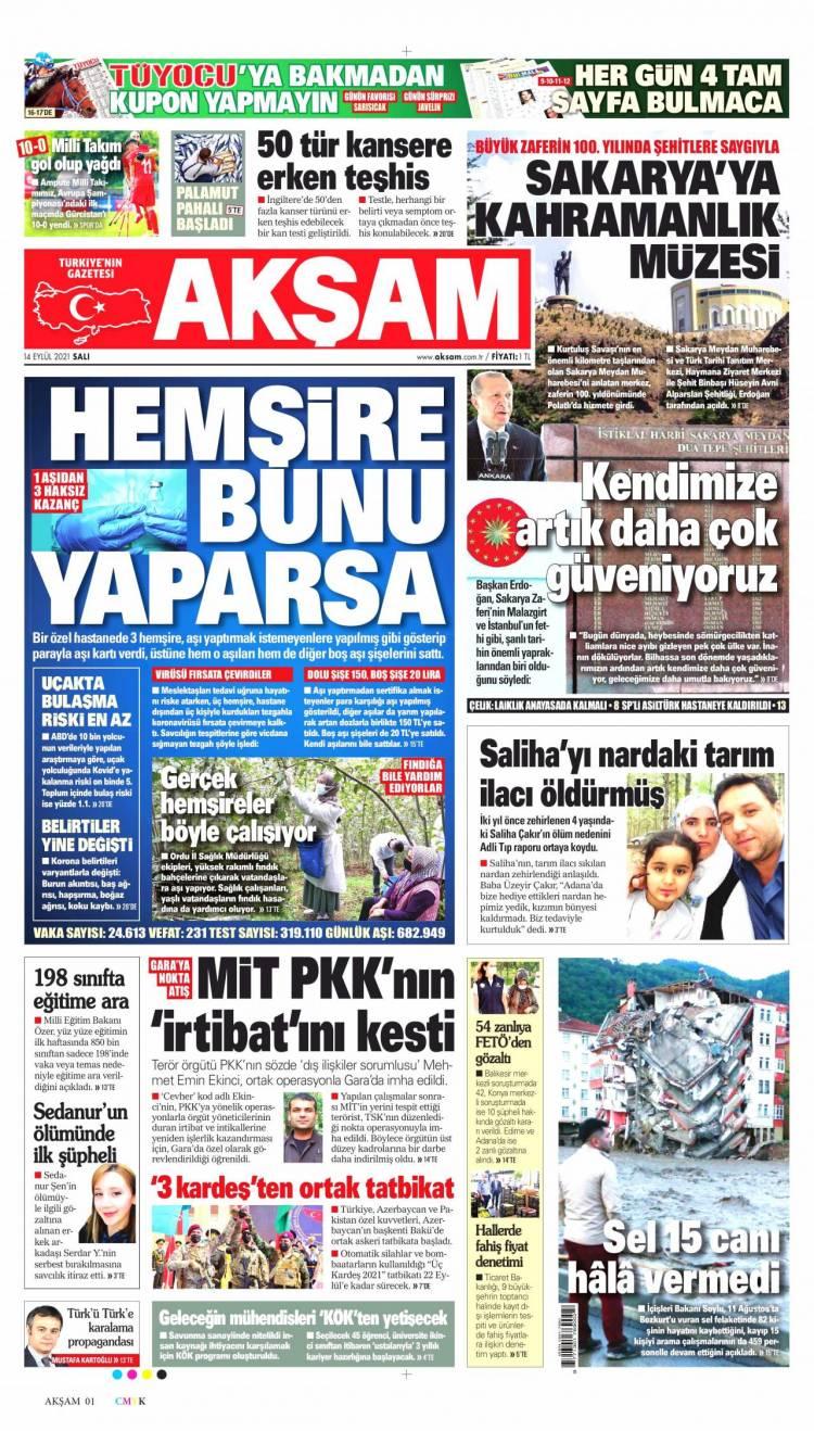 Günün Ulusal Gazete Manşetleri - 14 09 2021 1