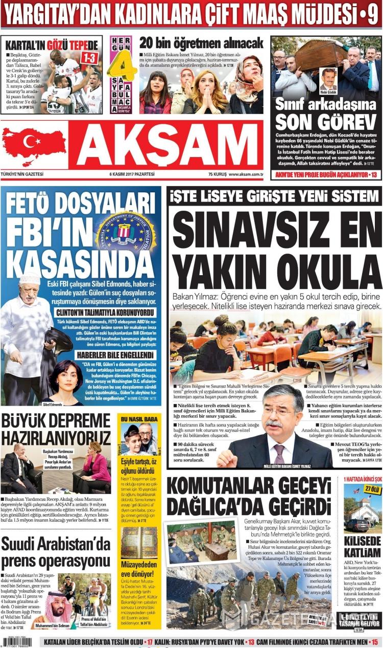 Günün Ulusal Gazete Manşetleri - 06 11 2017 1