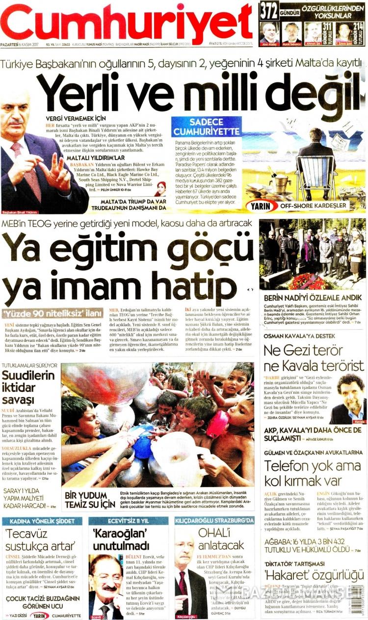 Günün Ulusal Gazete Manşetleri - 06 11 2017 4