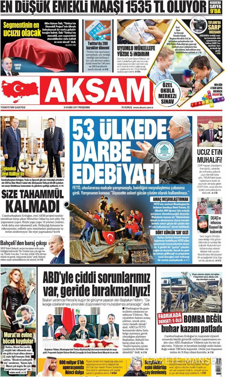 Günün Ulusal Gazete Manşetleri - 09 11 2017 1