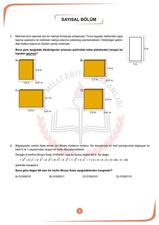 Örnek TEOG soruları 3