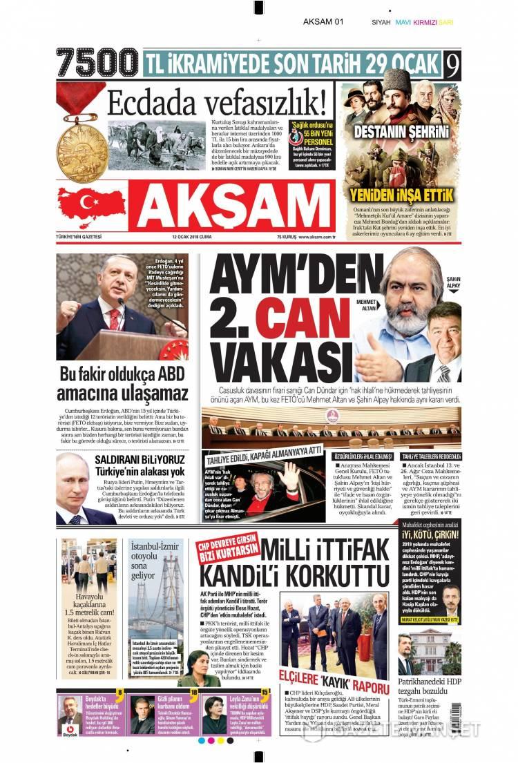 Günün Ulusal Gazete Manşetleri - 12 01 2018 1