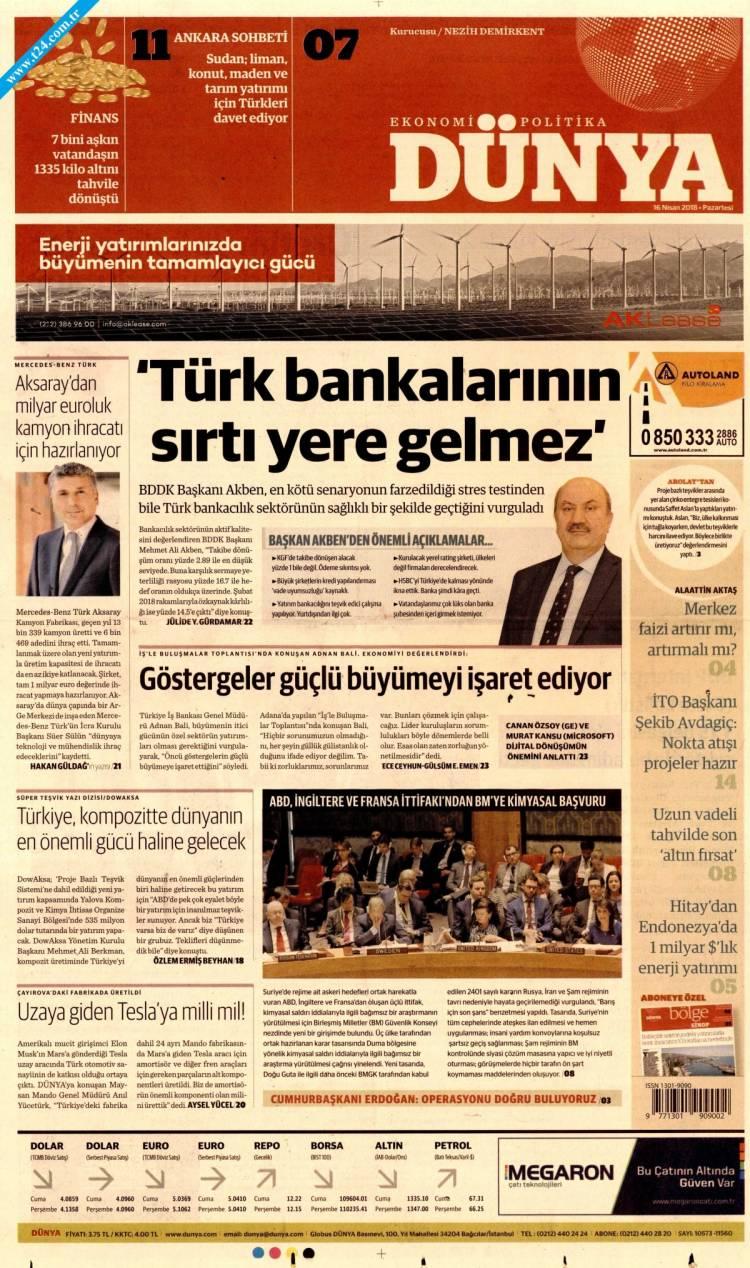 Günün Ulusal Gazete Manşetleri - 16 04 2018 5