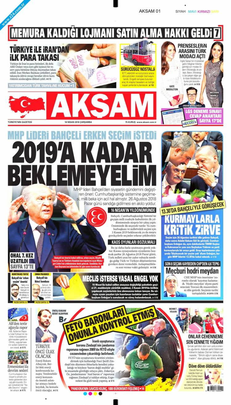Günün Ulusal Gazete Manşetleri - 18 04 2018 1