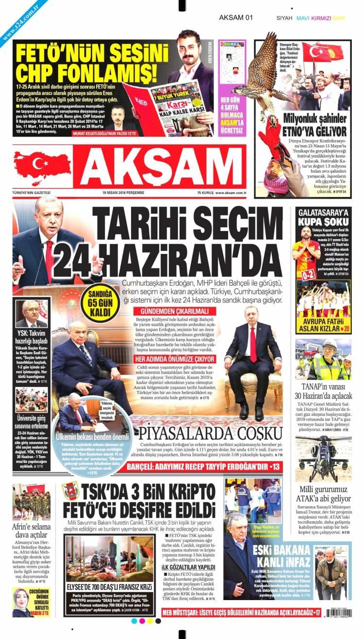 Günün Ulusal Gazete Manşetleri - 19 04 2018 1
