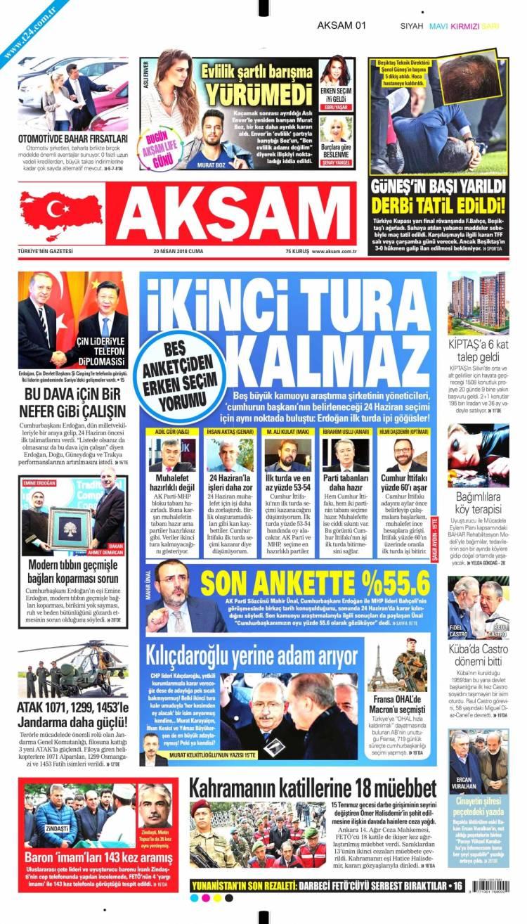 Günün Ulusal Gazete Manşetleri - 20 04 2018 1