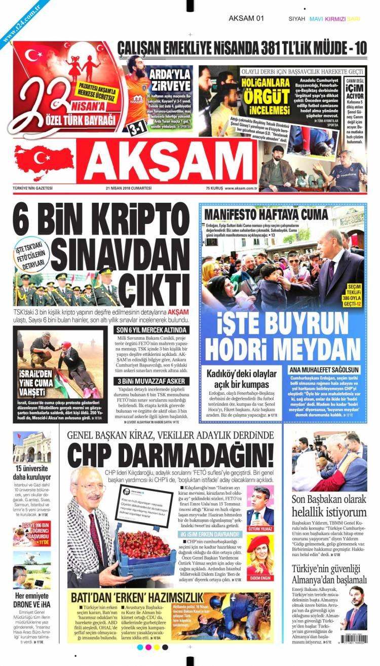 Günün Ulusal Gazete Manşetleri - 21 04 2018 1