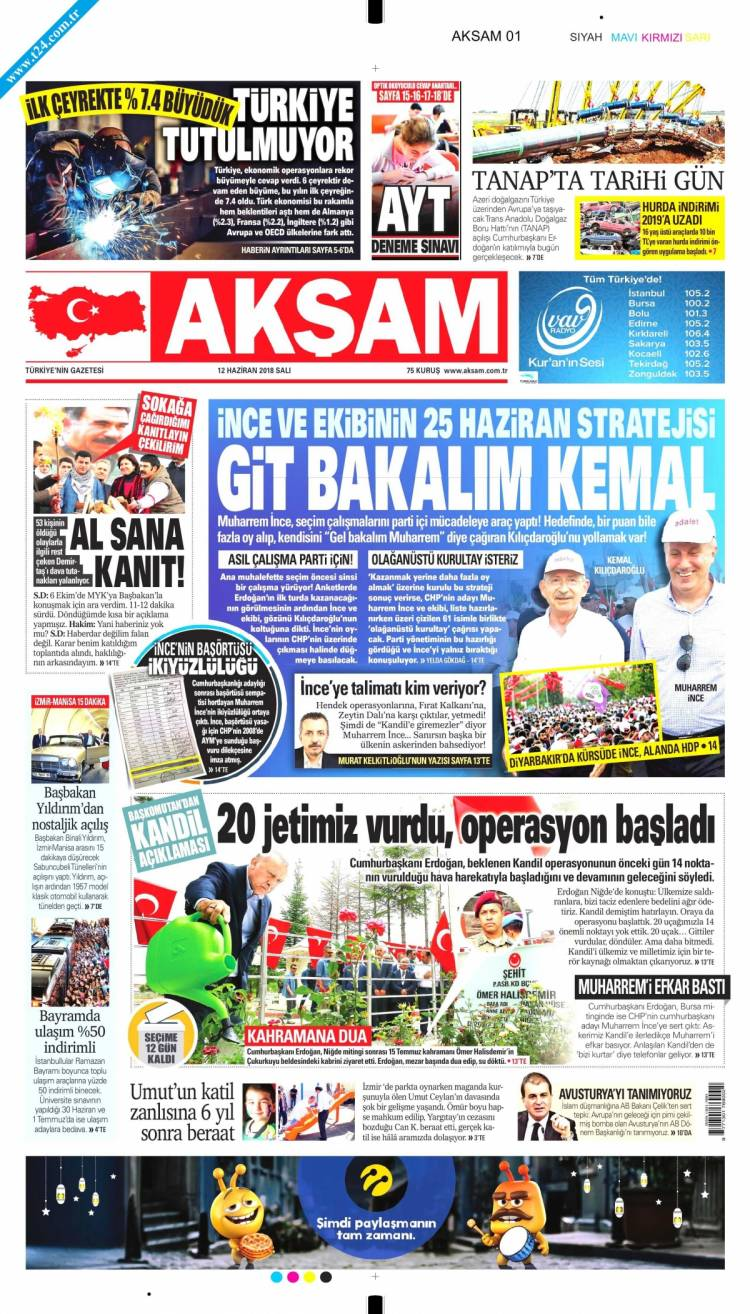 Günün Ulusal Gazete Manşetleri - 12 06 2018 1