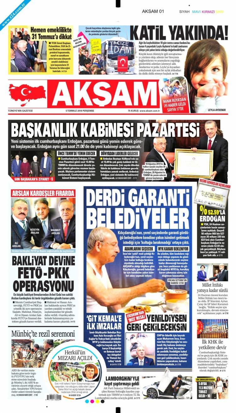 Günün Ulusal Gazete Manşetleri - 05 07 2018 1