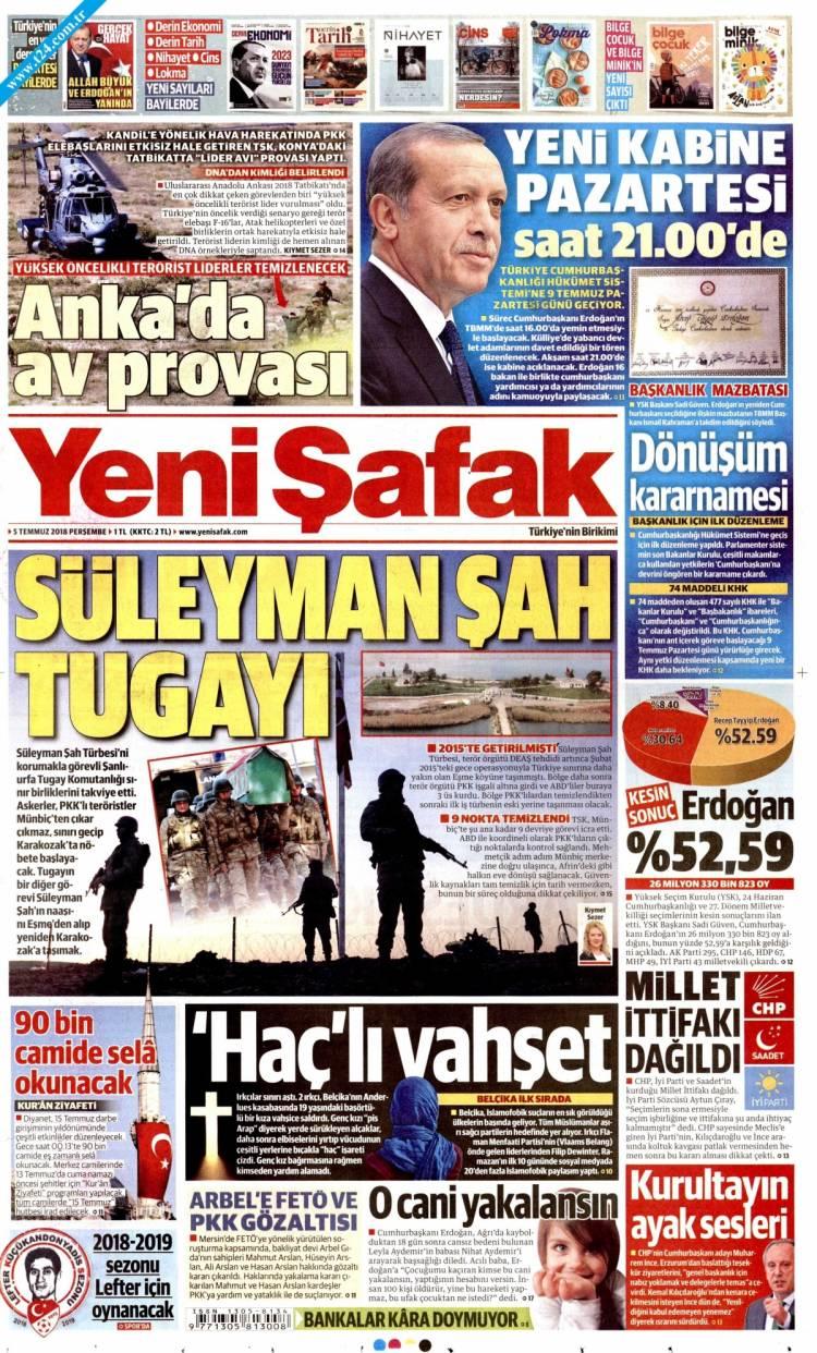 Günün Ulusal Gazete Manşetleri - 05 07 2018 22