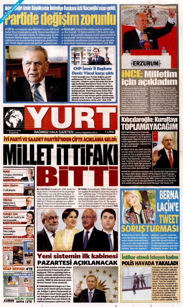 Günün Ulusal Gazete Manşetleri - 05 07 2018 23