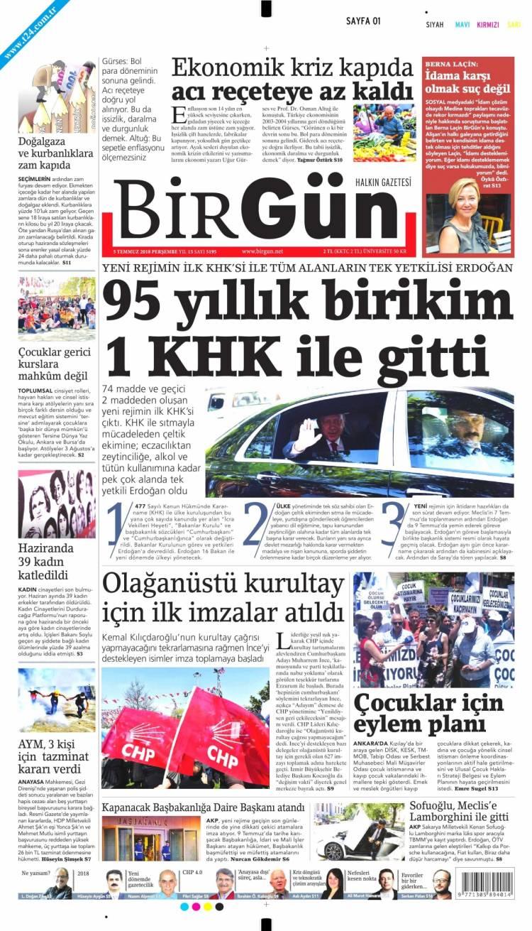 Günün Ulusal Gazete Manşetleri - 05 07 2018 3