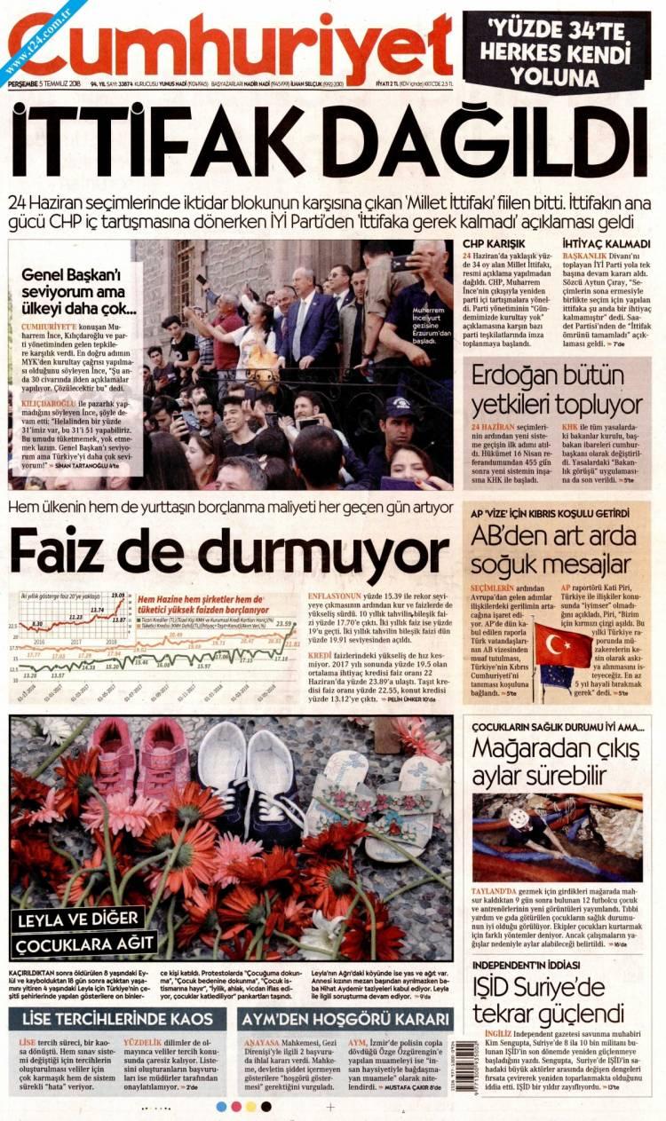 Günün Ulusal Gazete Manşetleri - 05 07 2018 4