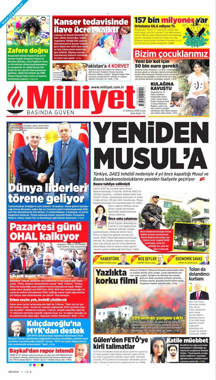 Günün Ulusal Gazete Manşetleri - 06 07 2018 11