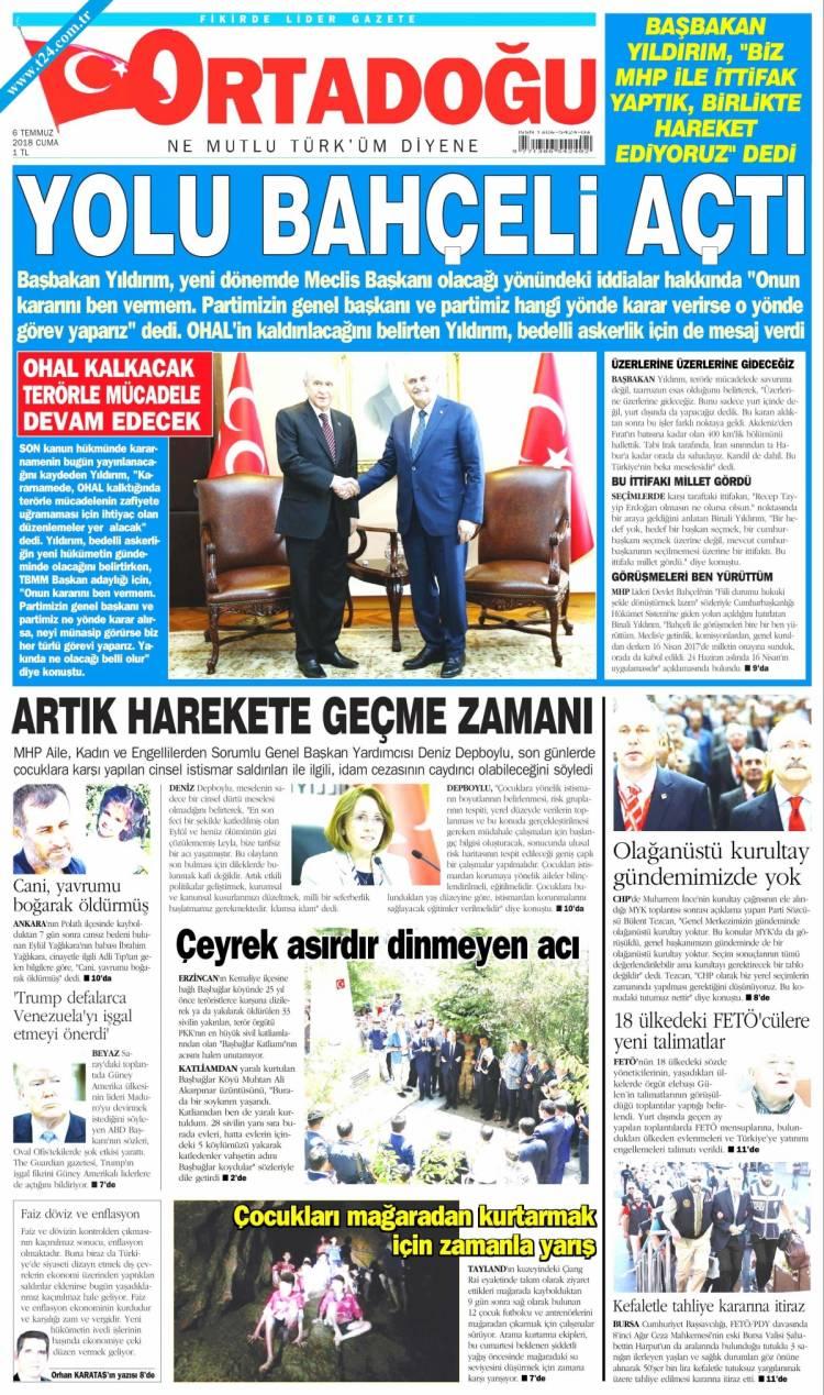 Günün Ulusal Gazete Manşetleri - 06 07 2018 12
