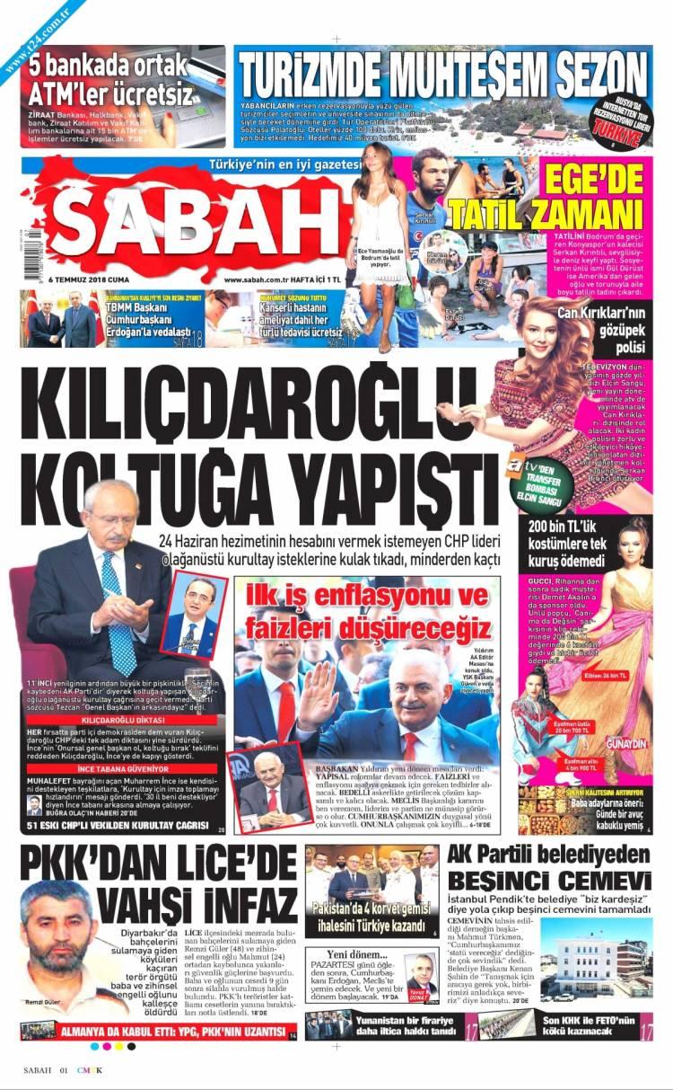 Günün Ulusal Gazete Manşetleri - 06 07 2018 14