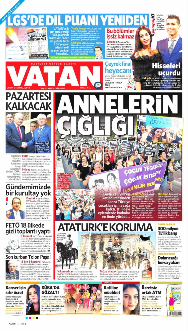 Günün Ulusal Gazete Manşetleri - 06 07 2018 18
