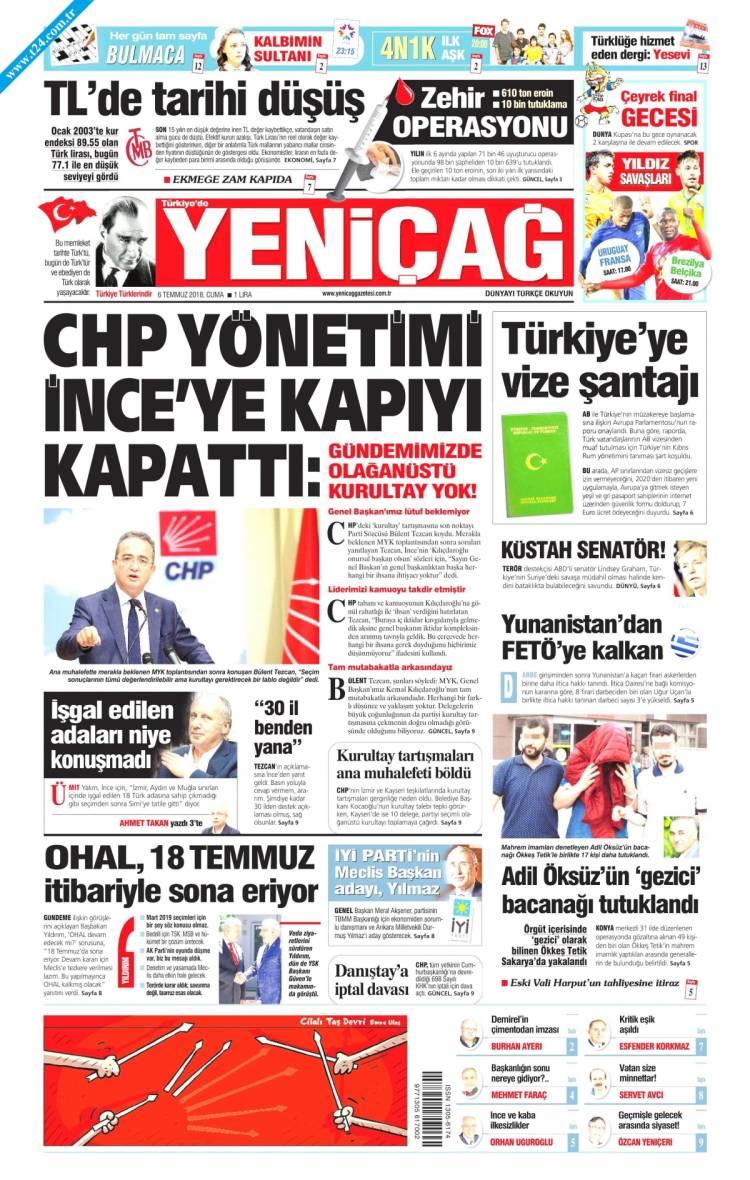 Günün Ulusal Gazete Manşetleri - 06 07 2018 21