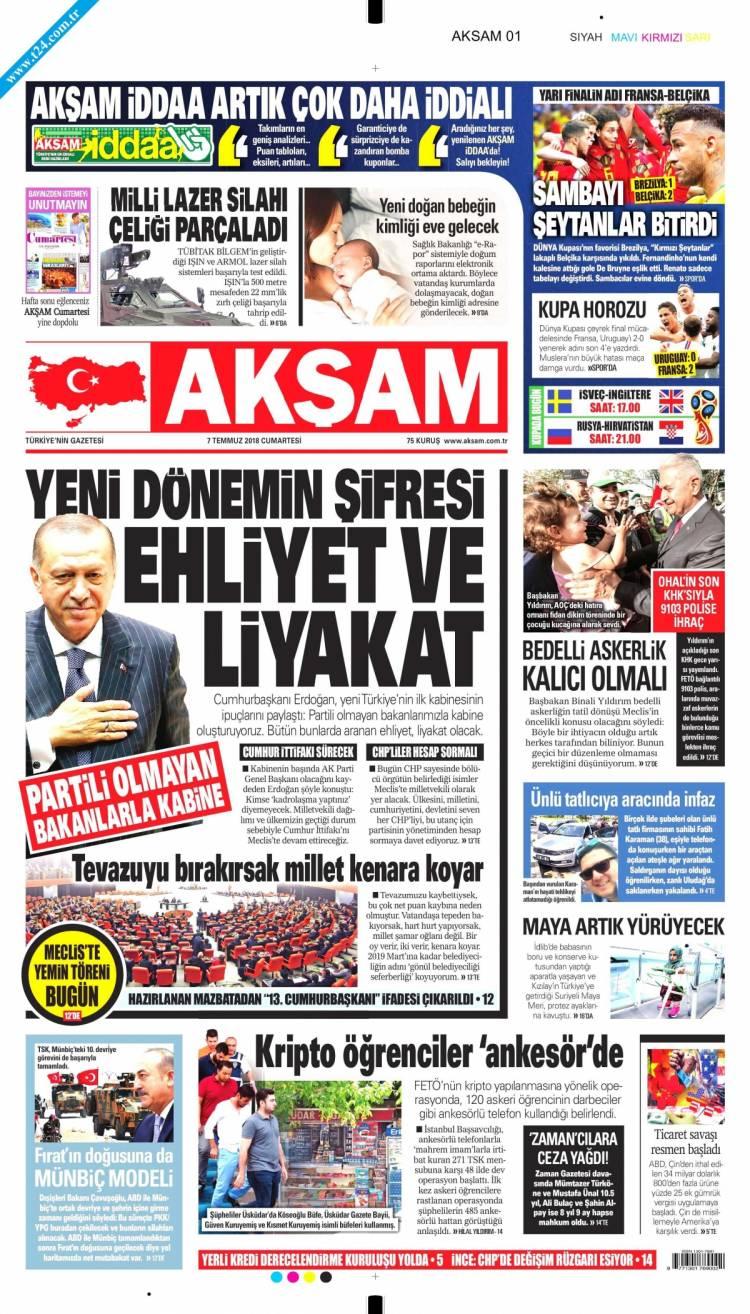 Günün Ulusal Gazete Manşetleri - 07 07 2018 1