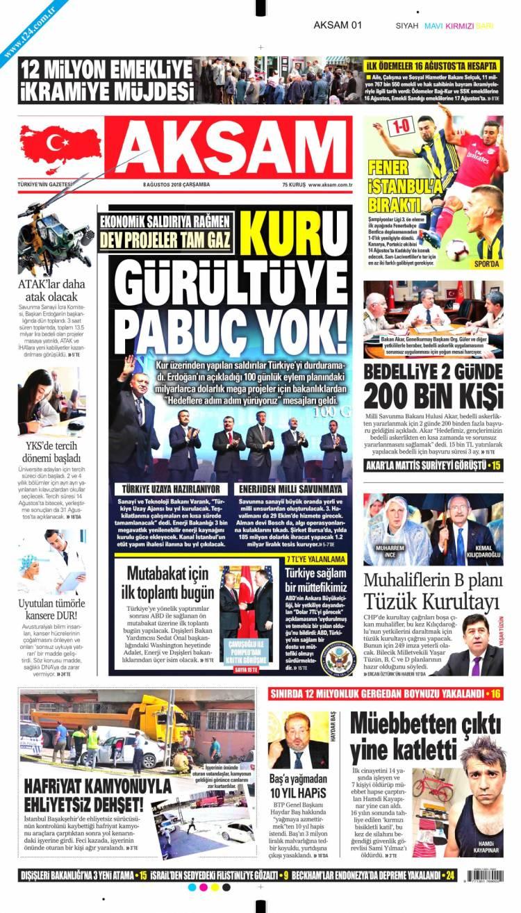 Günün Ulusal Gazete Manşetleri - 08 08 2018 1