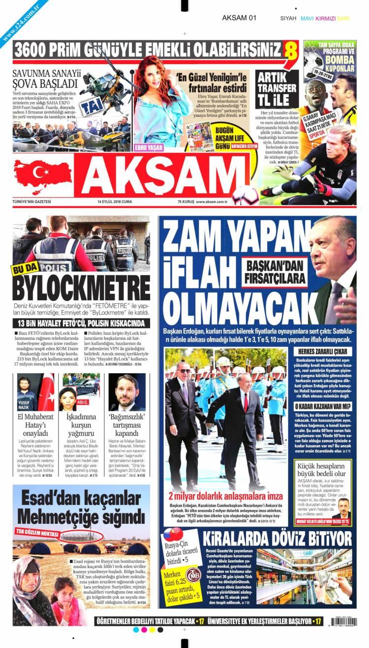 Günün Ulusal Gazete Manşetleri - 14 09 2018 1