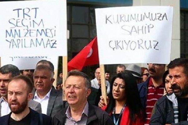 TRT çalışanları protesto eylemi yaptı