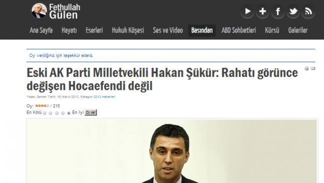 Şükür'ün istifası Gülen'in internet sitesinde