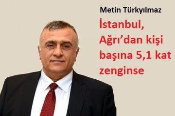 İstanbul, Ağrı'dan kişi başına 5,1 kat zenginse