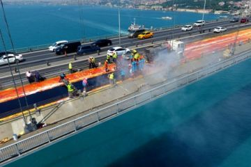 15 Temmuz Şehitler Köprüsü'ne mastik asfalt böyle döküldü